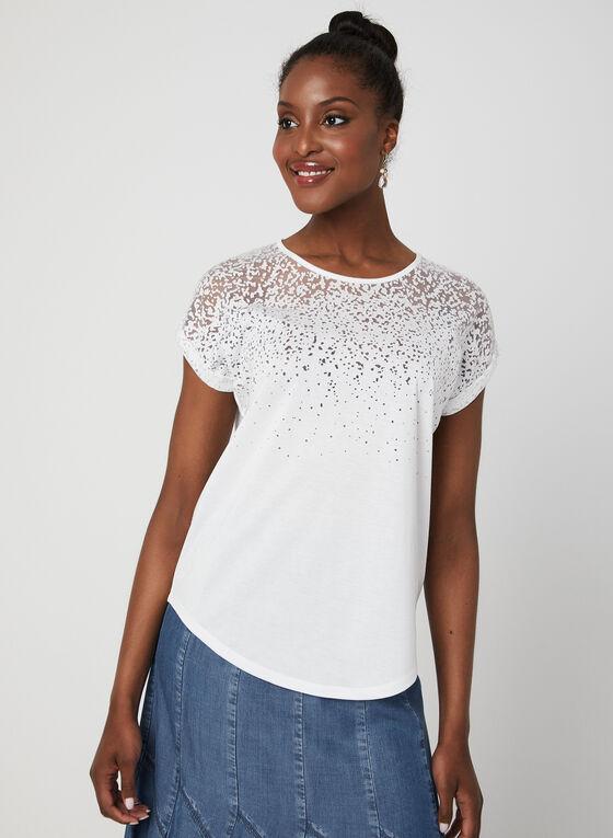 T-shirt avec jeu de transparence, Blanc cassé