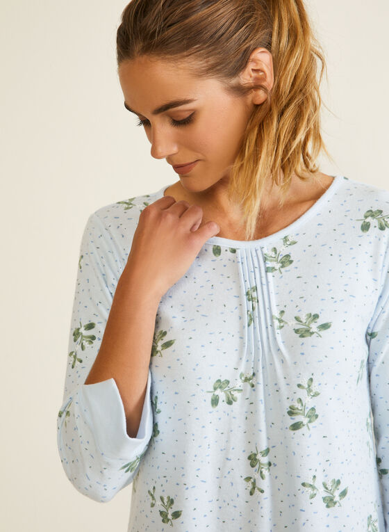 Floral Print Pleated Front Nightshirt, Blue