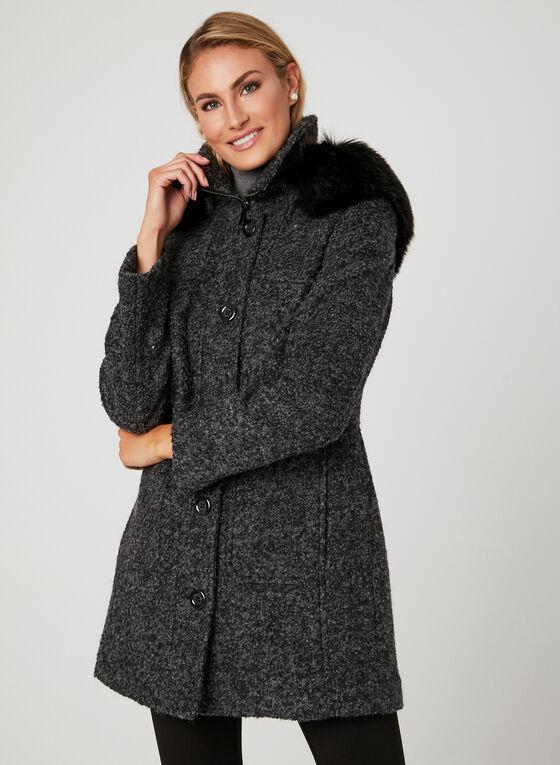 Manteau en laine avec col en fausse fourrure , Gris, hi-res
