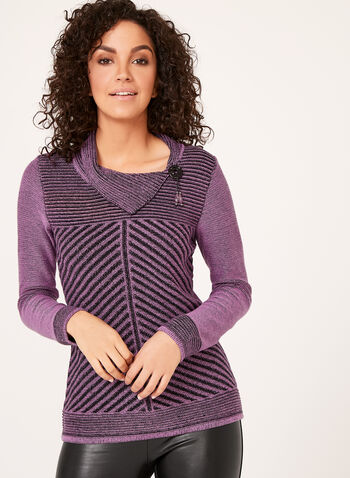 Split Collar Knit Sweater , Purple, hi-res