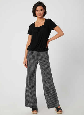 Modern Fit Wide Leg Pants, Black, hi-res,  fall 2019, winter 2019, jersey, print, wide leg, pull-on, made in canada