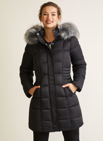 Vegan Down Quilted Coat, Black,  fall winter 2020, coat, winter, jacket, stand collar, removable hood, faux fur trim, long sleeve, zipper, pocket, quilting, matter, water repellent, vegan down, quilted, warm, machine washable, laura exclusive