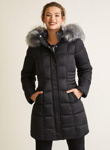 Manteau en duvet végane matelassé, Noir,  automne hiver 2020, manteau, manteau d'hiver, matelassé, capuchon, fausse fourrure, poches, rembourrage, bourre, duvet, végane, hydrofuge