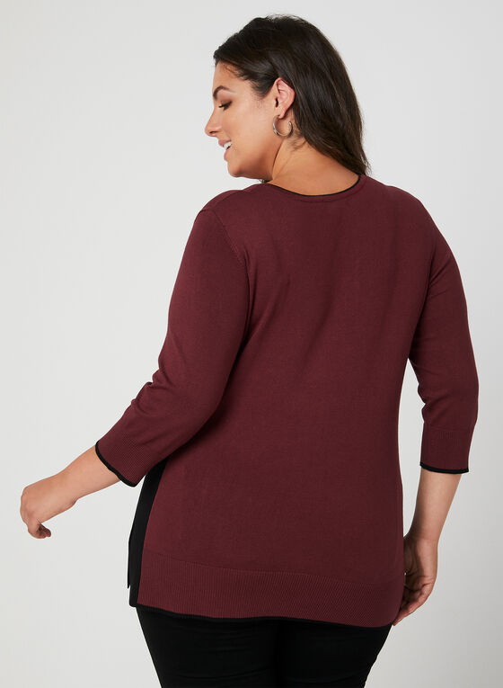 V-Neck Sweater, Red, hi-res