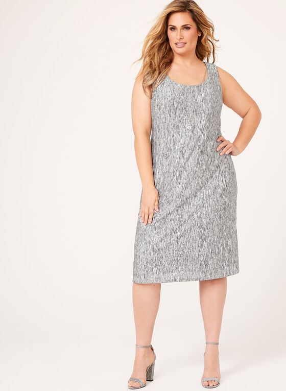 Crinkle Knit Dress with Cardigan, Silver, hi-res