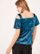 Haut en velours à manches courtes et épaules ajourées, Bleu, hi-res