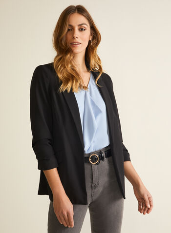 Crepe Gathered Sleeve Blazer, Black,  jacket, blazer, notch collar, crepe, gathered sleeve, open front, spring summer 2020