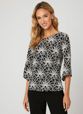 Pearl Detail Puff Print Blouse, Black, hi-res