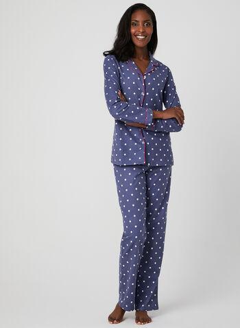 Midnight Maddie - Polka Dot Print Pajamas, Grey, hi-res