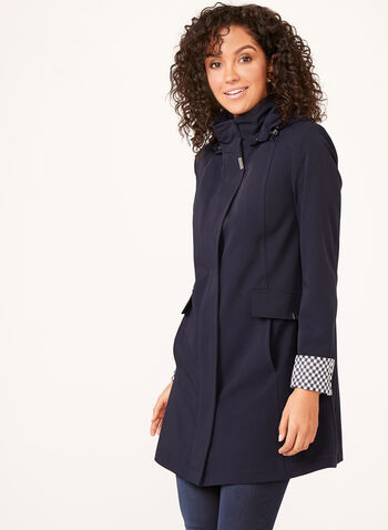 Hooded A-Line Raincoat, Blue, hi-res