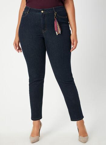 Jeans coupe signature à détail porte-clefs, Bleu,  jambe étroite, jambes étroites, 5 poches, broderies, automne hiver 2019