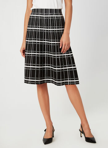 Charlie B - Plaid Print Skirt, Black,  plaid, geometric, skirt, elastic, jacquard, fall 2019, winter 2019, Charlie B, midi
