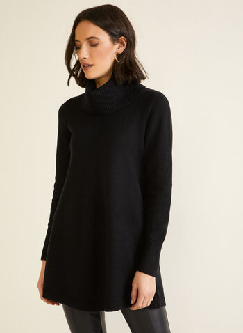 Shawl Collar Tunic, Black,  fall winter 2020, top, sweater, knit, long sleeves, shawl collar, turtleneck, tunic, holidays