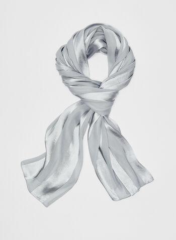 Stripe Print Satin Wrap, Silver, hi-res