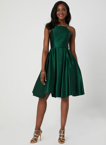 Satin Fit & Flare Dress, Green, hi-res,  spring 2019, summer 2019, cocktail dress, fit & flare, satin