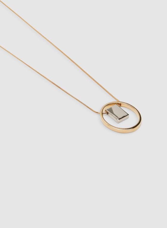 Hoop Pendant Necklace, Yellow, hi-res