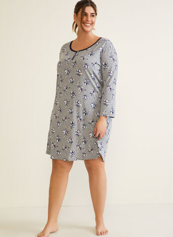 Floral Print Nightshirt, Grey,  fall winter 2020, nightshirt, contrast , pyjama