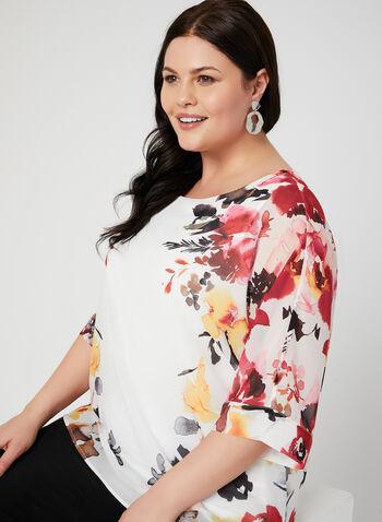 Chiffon Floral Print Blouse, White, hi-res