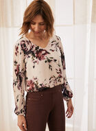 Floral Print Pleated Sleeve Blouse, White