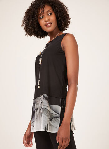 Mesh Hem Sleeveless Top, Black, hi-res