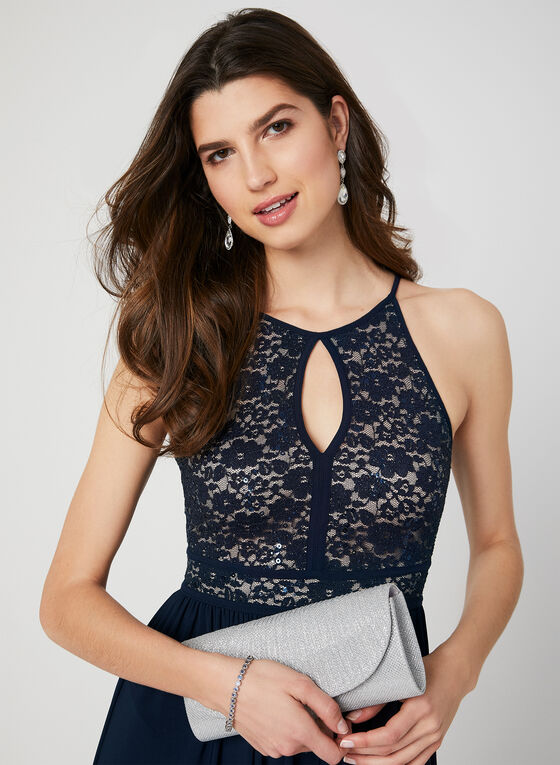 Glitter Lace Jersey Dress, Blue, hi-res