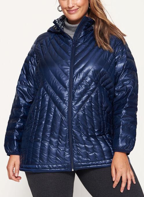 Nuage - Manteau matelassé en duvet à capuchon  , Bleu, hi-res