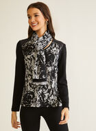 Vex - Abstract Print Scarf Detail Top, Black