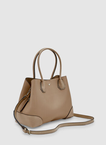 Faux Leather Tote Bag, Brown, hi-res