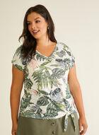 T-shirt tropical noué et détails strass, Vert