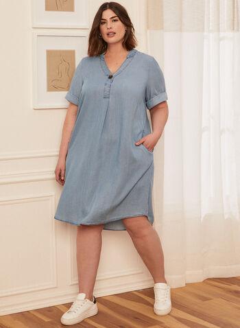 Button Detail Tencel Dress, Blue,  spring summer 2021, dress, day dress, short, short sleeves, tencel, flared, V-neck, V neck, button, belt, folded hems