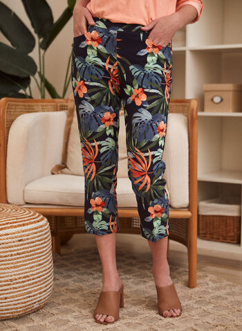 Floral Print Capri Pants, Blue,  spring summer 2021, pull on, capris, made in Canada, pocketed, flowers, flowery,
