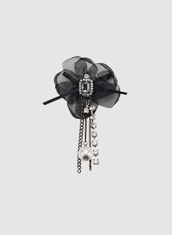 Crystal Embellished Flower Pin, Black, hi-res