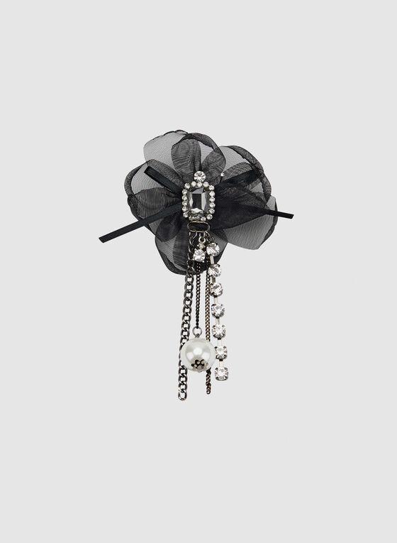 Épinglette fleur à cristaux, Noir, hi-res