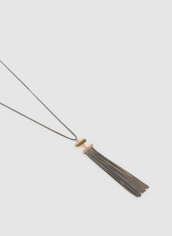 Tassel Pendant Necklace, Grey, hi-res