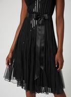 Robe à bandes pailletées et ruban, Noir, hi-res