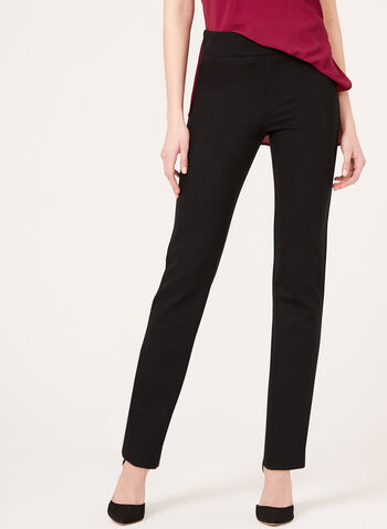 Pantalon pull-on en point de Rome à jambe étroite, Noir, hi-res