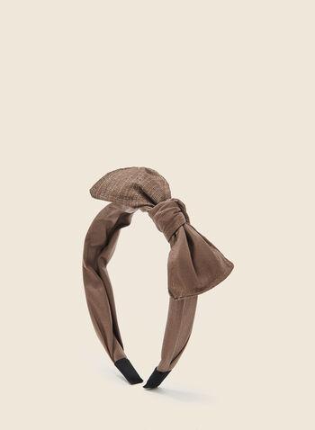Serre-tête nœud et détails métallisés, Brun,  cheveux, serre-tête, nœud, printemps été 2020
