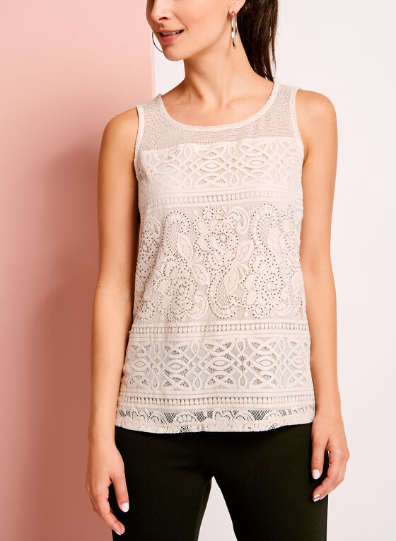 Mesh Lace Embellished Camisole, Off White, hi-res
