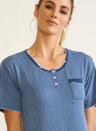 Chemise de nuit à manches courtes, Bleu