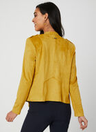 Faux Suede Open Front Jacket, Brown