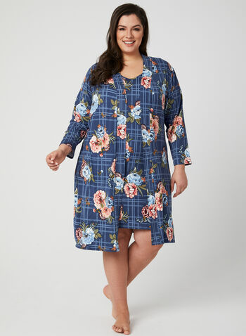 Robe de chambre fleurie, Bleu, hi-res