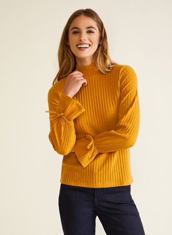 Wrist Tie Detail Ribbed Top, Yellow,  Fall winter 2020, knit, sweater, top, ribbed, tie, cuffs, long sleeves, mock neck