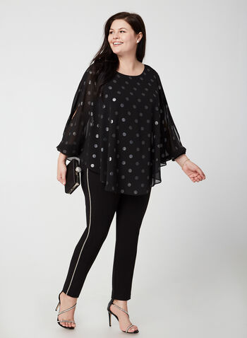 Polka Dot Print Chiffon Top, Black, hi-res,  3/4 sleeves, open sleeve, slit, polka dot, print, poncho, blouse, top, chiffon, fall 2019, winter 2019