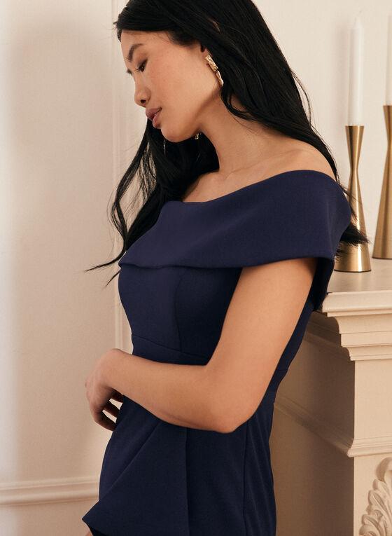 Long Off-The-Shoulder Dress, Blue