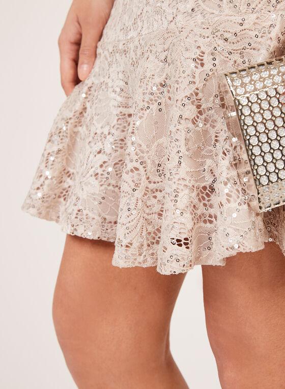 Sequin Lace Flounce Dress, Pink, hi-res
