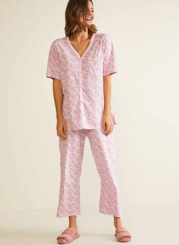 2-Piece Printed Pyjama Set, Purple,  pyjamas, set, 2-piece, floral print, capris, pull-on, short sleeves, fall winter 2020