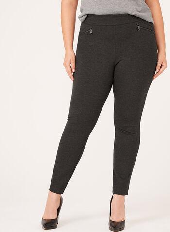 Pull-On Zipper Trim Ponte Leggings, Grey, hi-res