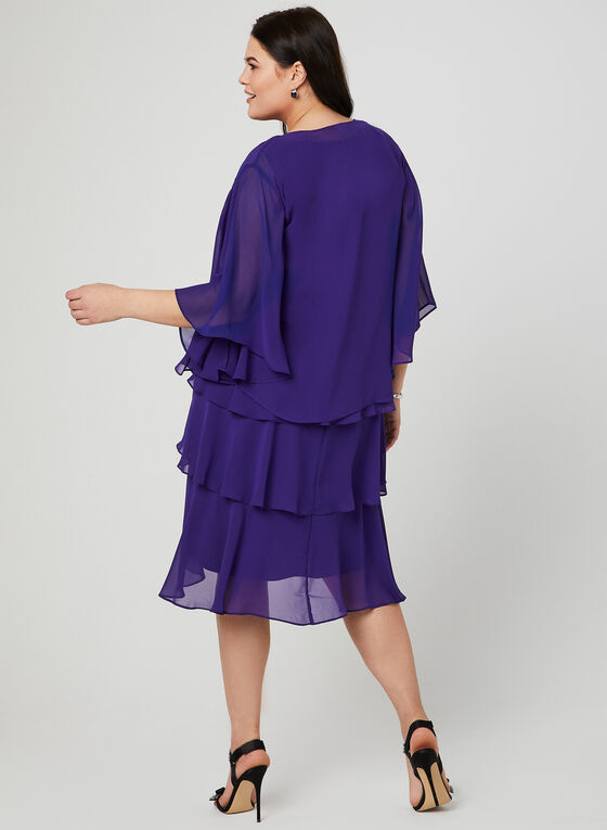 Tiered Dress & Bolero Set, Purple, hi-res