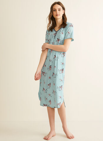 Comfort & Co. - Floral Print Nightgown, Blue,  Spring summer 2020, nightshirt, pyjama, short sleeves