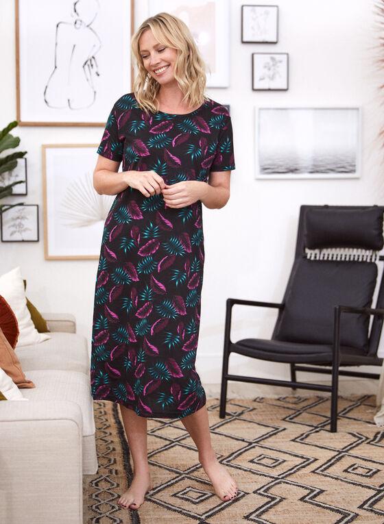 Leaf Print Nightgown, Black
